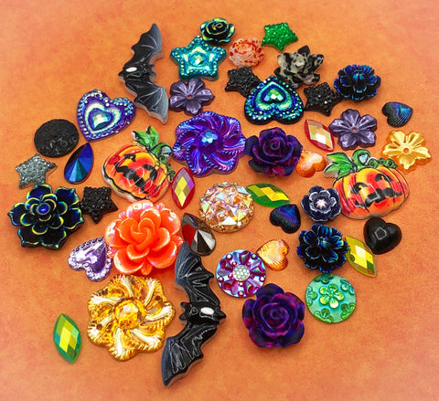 halloween large fb flatback embellishment bundle of 40 orange green purple and black resin acrylic flat backs uk cute kawaii craft supplies