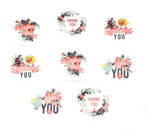 thank you 25mm sticker round packaging stickers bird birds and flower flowers thankyou small white seals uk stationery supplies