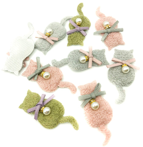 furry cat fabric applique patch cats pink grey green with bow and pearl charm