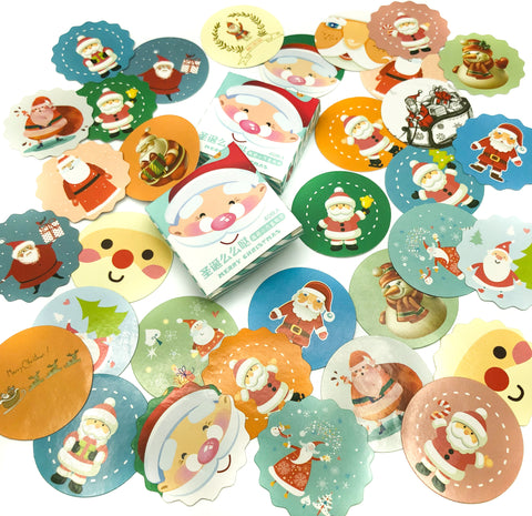santa father christmas mini sticker flake flakes box of 40 stickers