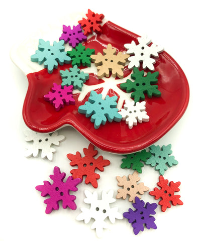 wood snowflake button wooden snowflakes buttons festive christmas