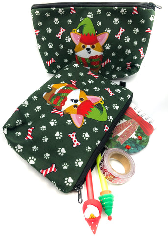 christmas corgi large pencil case cosmetic bag fabric kawaii bags corgis