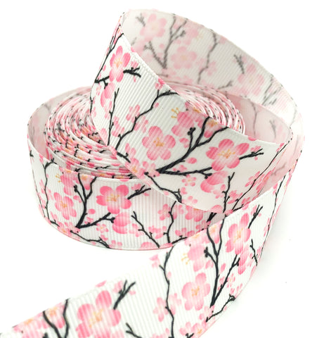pink cherry blossom 25mm grosgrain white ribbon ribbons yard