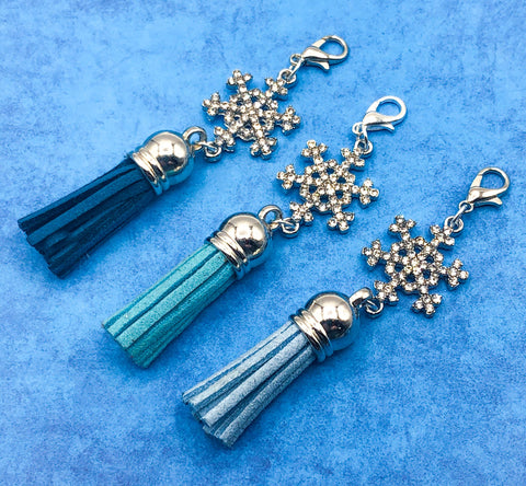 sparkly snowflake rhinestone snowflakes silver tone metal tassel planner charm charms uk gift planning supplies turquoise blue white teal