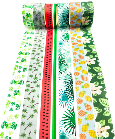 summer time palm palms leaf leaves tropical watermelon fruit green washi tape uk cute kawaii stationery