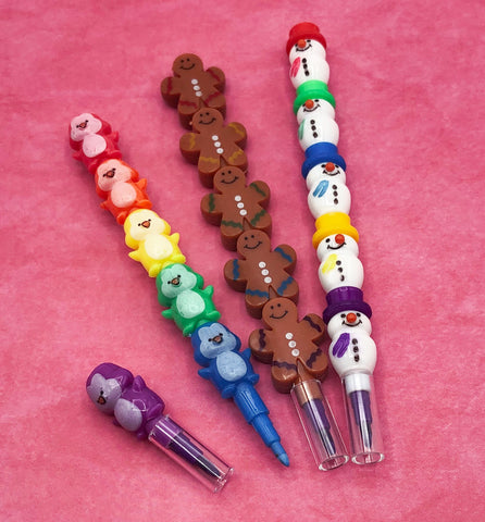 cute stackable pop on crayons festive christmas pencil crayon penguin snowman gingerbread men kids gift gifts uk kawaii pencils
