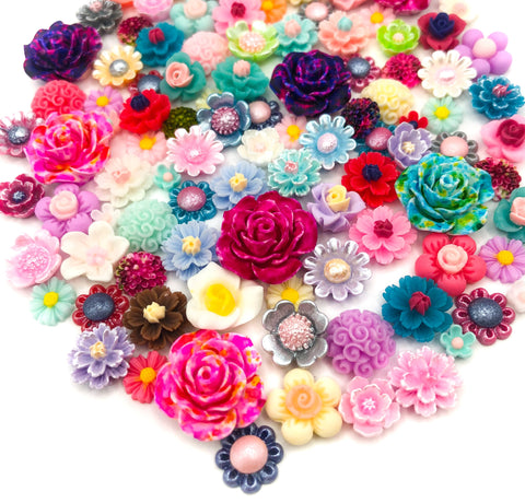 resin flower fb flat back bundle of 20 mixed flowers embellishments cabochons uk craft supplies