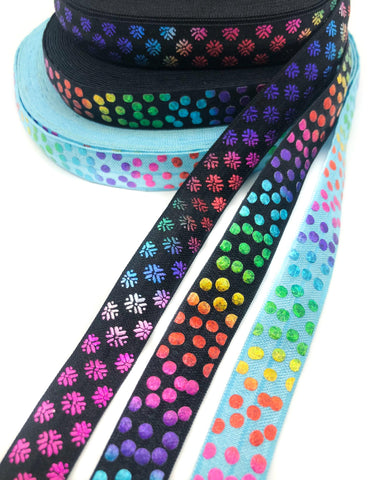 metallic rainbow foil foiled elastic ribbon black turquoise polka dot dots snowflake snowflakes elastics ribbons cute kawaii craft supplies uk