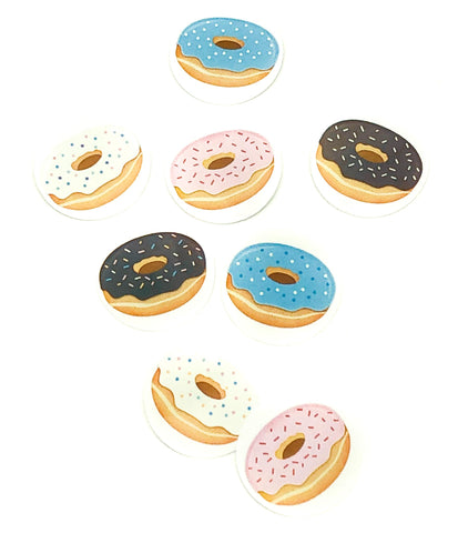 cute donut doughnuts round 25mm sticker stickers seals packaging supplies kawaii uk donuts