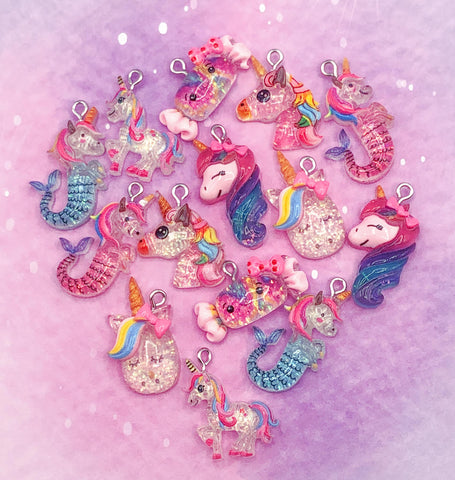 kawaii glitter resin charm charms uk cute craft supplies unicorn unicorns seahorse sweet sparkly pendants