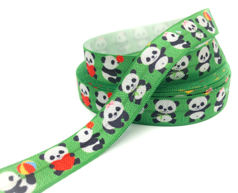 red and green panda elastic ribbon pandas elastics ribbons cute kawaii foe fold over heart uk craft supplies store