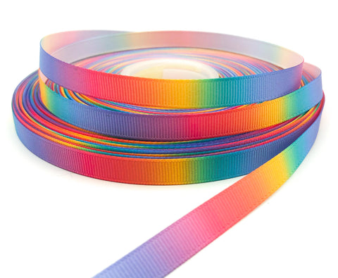 rainbow ombre narrow 10mm wide grosgrain ribbon yard uk cute kawaii craft supplies thin rainbowy ribbons single sided