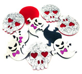 glitter ghost ghosts skull skulls halloween felt patches applique patch white silver glittery uk craft supplies