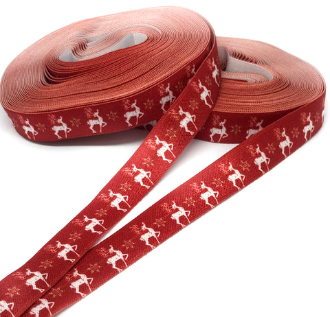 red and white deer reindeer fold over elastic 15mm ribbon yard festive christmas ribbons