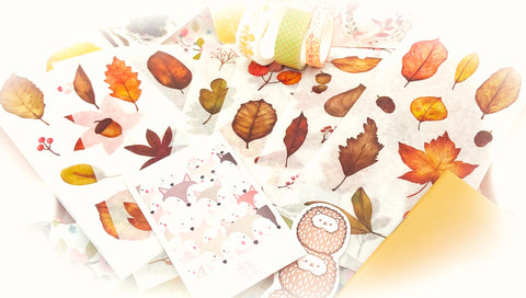 autumn leaf leaves translucent sticker stickers pack 6 sheets uk cute kawaii autumnal stationery