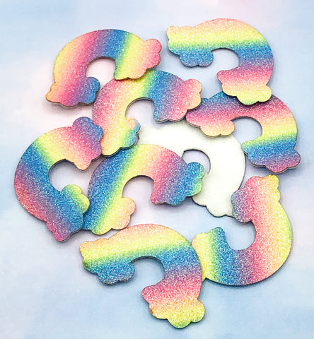 Glittery Rainbow Felt Patch 48mm