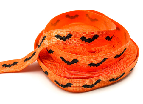 orange elastic 15mm wide ribbon with black bats halloween foe