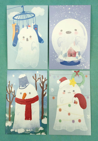 ghost mini lomo cards postcards card ghosts kawaii packs of 4 cute small postcard stationery uk christmas festive