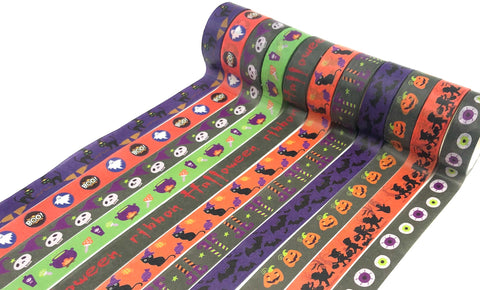 halloween spooky washi tape tapes uk cute kawaii stationery bat cat pumpkin witch orange purple green grey skull 5m