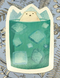 cute polar bear in glass in mug cute teacup postcard post card cards uk kawaii stationery store pretty animal animals