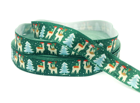 christmas alpaca llama dark green elastic ribbon foe ribbons elastics llamas alpacas cute kawaii craft supplies uk festive