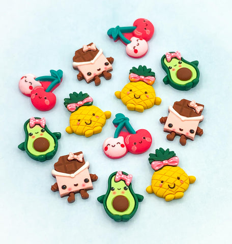 fruit fruits cute kawaii resin fb fbs flatback flat back pineapple avocado chocolate cherries cherry food sweet candy decoden uk craft supplies