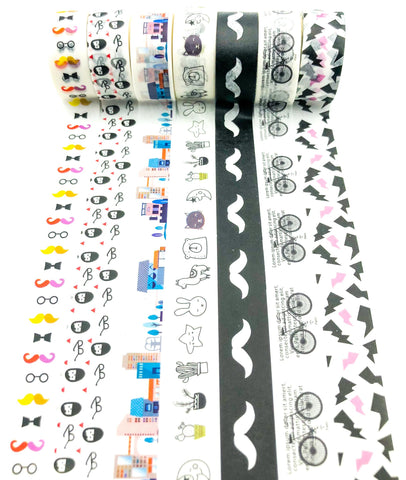 black and white washi tape quirky monochrome building moustache bike bicycle uk cute stationery kawaii