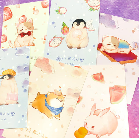pastel kawaii animal animals cute postcard postcards bundle of 4 uk stationery penguins dogs rabbits cats cat dog penguin bunny