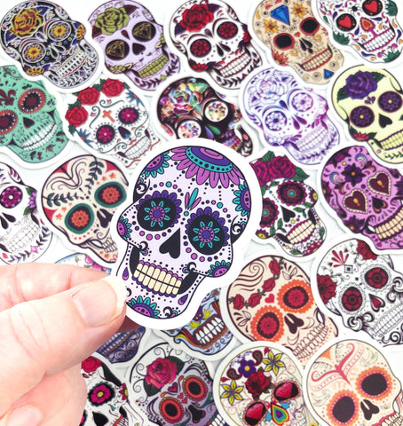 sugar skull sticker laptop decorative stickers skulls uk cute kawaii stationery halloween gift gifts