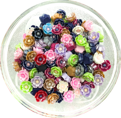 11mm pearly flower resin flatback fb fbs pearlescent pearl flowers