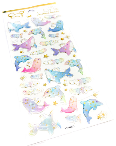 crystal puffy sticker stickers transparent pack gold foil foiled ocean whale dolphin dolphins