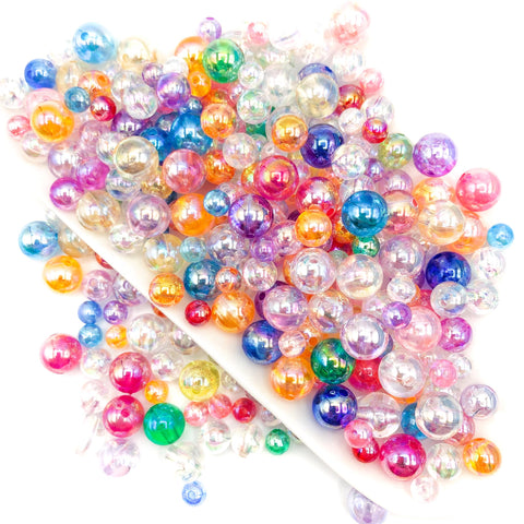 bubble beads acrylic round 10mm 8mm 5mm iridescent pearly pearl pretty bead bundle clear uk cute kawaii craft supplies