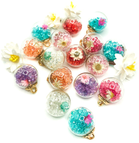flower glitter globe charm charms 23mm