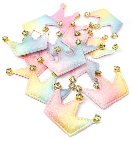 crown patch patches applique crowns glitter ab iridescent rhinestone fabric ombre pastel