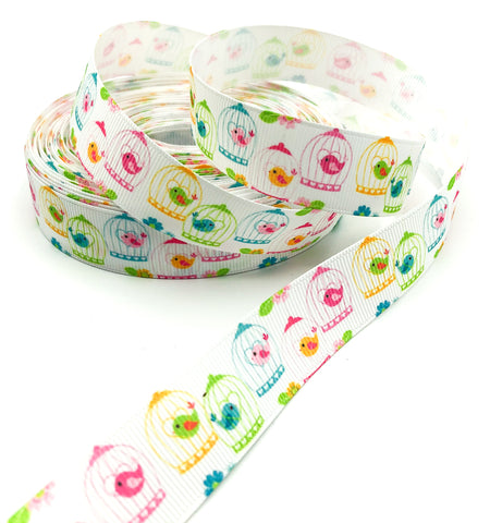 22mm wide white bird cage grosgrain ribbon one yard birds