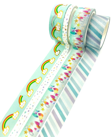 washi tape bargain bundle of 4 turquoise teal blue green raindrops rainbow rainbows cloud clouds bundles tapes uk stationery
