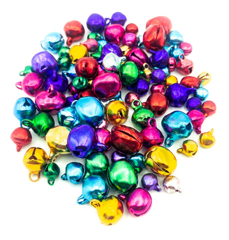 christmas jingle bell bells bundle metallic foil satin metal uk cute craft supplies colour themed red green purple gold silver pink