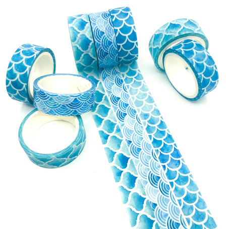 mermaid scale scales blue turquoise washi tape tapes 5m uk cute kawaii craft supplies stationery ocean waves