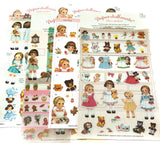 vintage childhood dolls girl girls toys style retro clear stickers sticker pack planner retro pvc