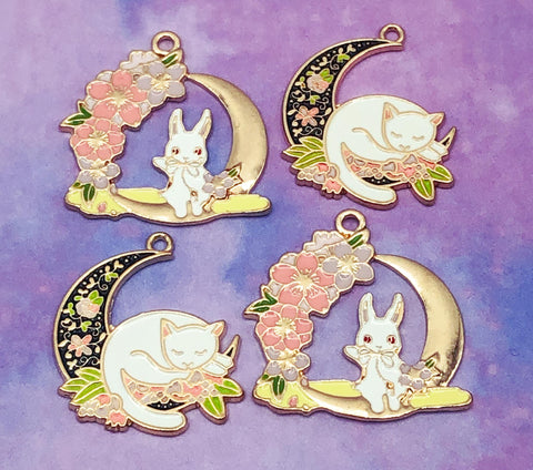 enamel cat or rabbit gold moon charm pendant pendants cute kawaii craft supplies uk gold tone metal flowers bunny