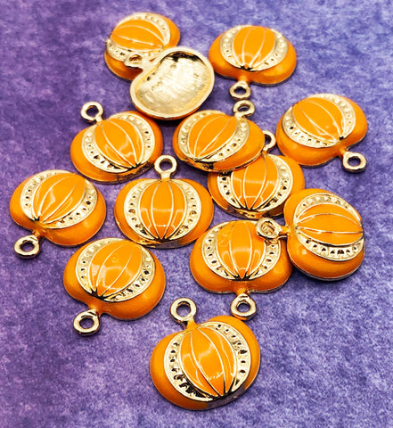 halloween large enamel orange pumpkin charm pendant charms orange uk cute kawaii craft supplies gold tone metal