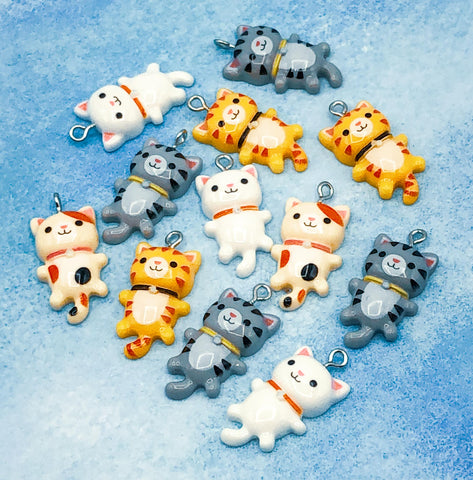cute kawaii cat resin charm charms cats uk craft supplies white grey tabby ginger tortoiseshell kitty