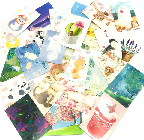 lomo cards bundle bundles bargain packs themed cute kawaii uk stationery animal cacti ghost cats