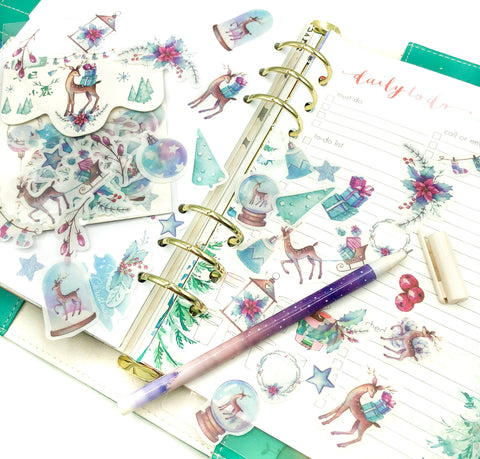 winter deer christmas translucent sticker flakes pack of 40 stickers festive planner