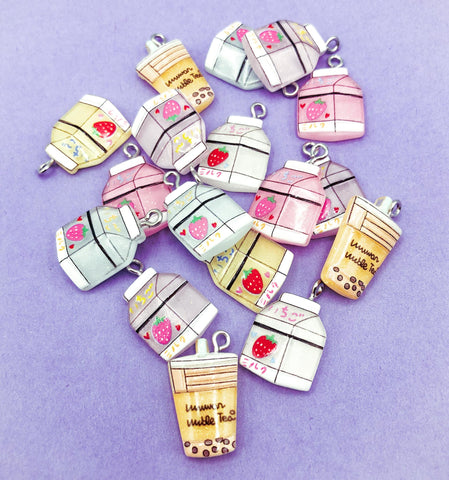 kawaii milk carton cartons iced tea drink drinks cute glitter resin charm charms pendant uk craft supplies pastel