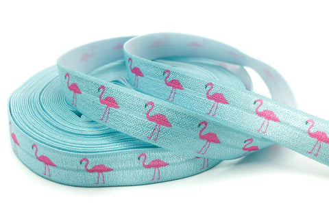 pink flamingo on pale blue foe elastic ribbon flamingos yard