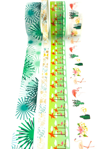 flamingo and palm leaves washi tape bundles bundle flamingo washis uk cute kawaii stationery