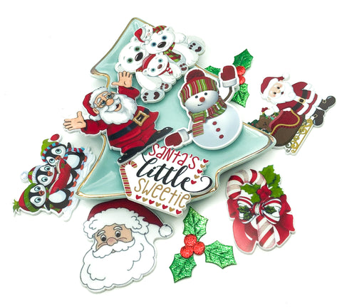 christmas acrylic fb flat backs flatback festive planar embellishments kawaii santa uk cute kawaii craft supplies embellishments santa claus candy cane penguin snowman polar bear father christmas