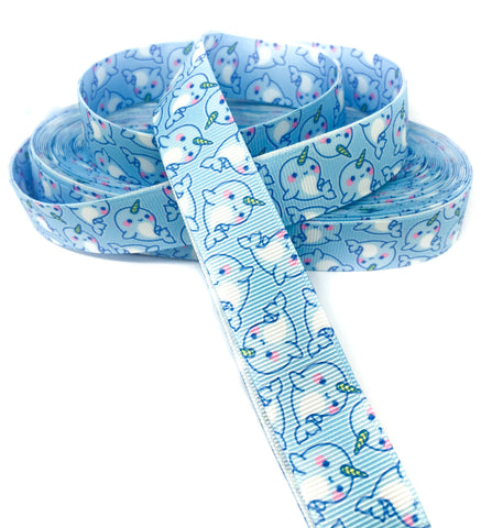 blue narwhal 22mm grosgrain ribbon one yard narwhals cute kawaii ribbons