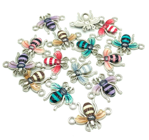 bee bees connector charm charms enamel enamelled metal silver 23mm